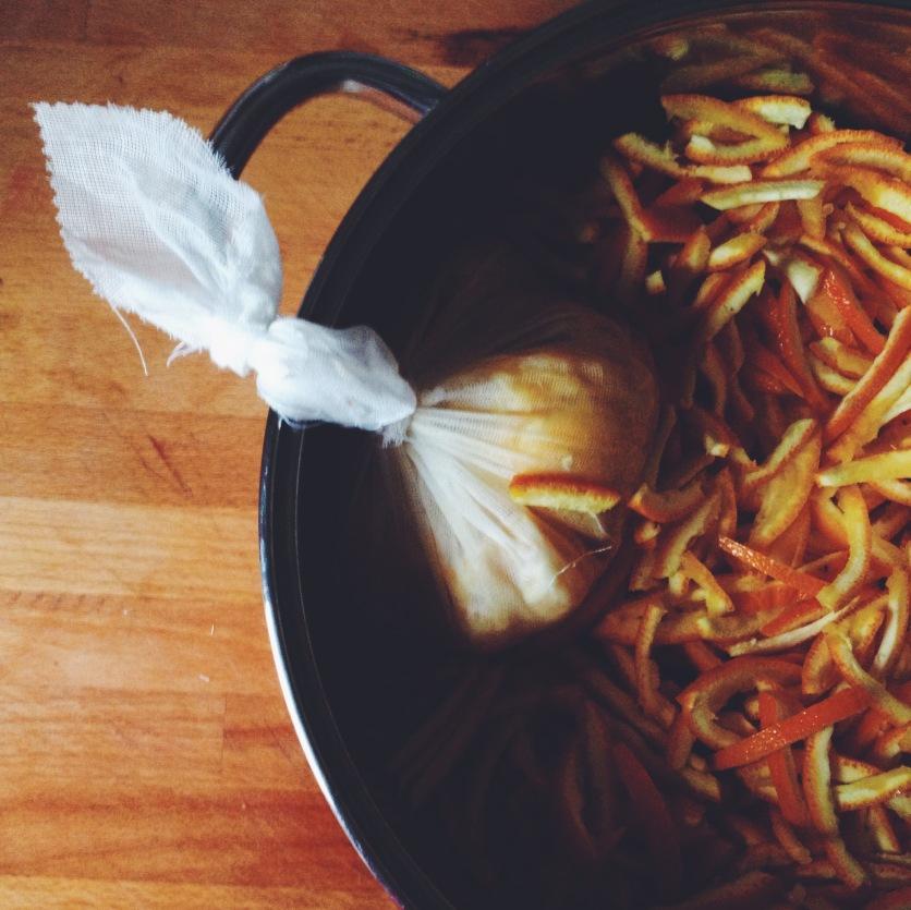 Pop peel & muslin in pan
